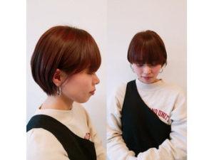 丸いボブヘアの女性の正面と横顔